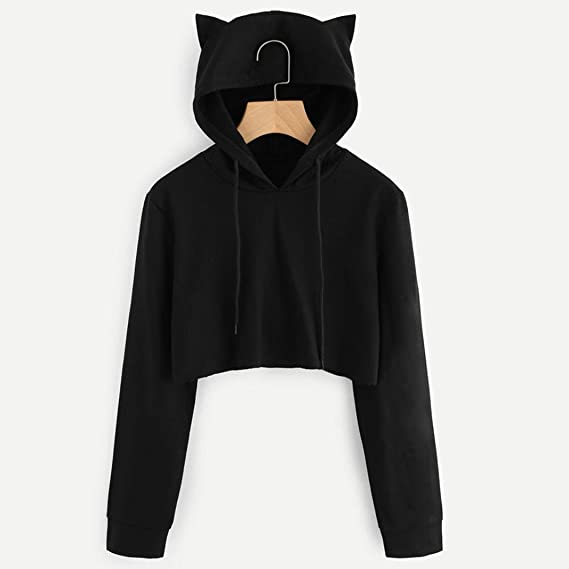 Cat Ears Hoodies, Ladies Sexy Crop Top Hooded Sweatshirt Polluver Tops at Amazon Womens Clothing store: