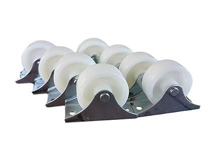 Rueda de plástico giratoria de 40 mm con doble rueda metálica con placa para muebles y
