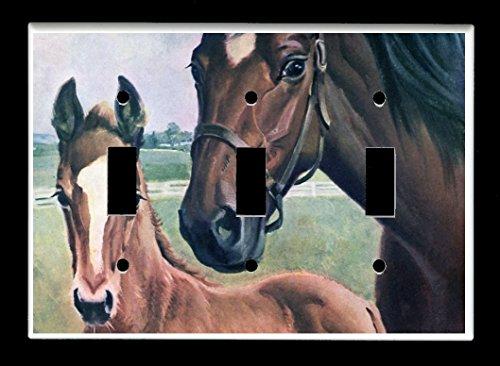 Triple Toggle (3-toggle) Light Switch Plate Cover - Horses - Horses - Farm Horse Design #104 ()