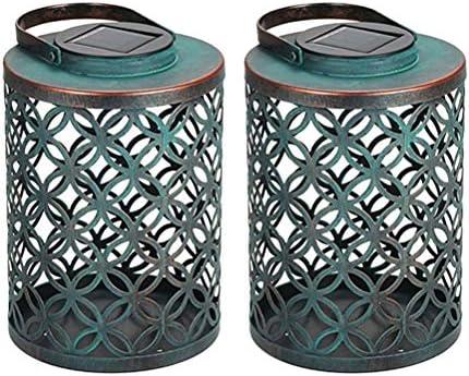 2Pc Vintage Lanterna solare a LED per esterni Lanterna a lume di candela a energia solare Giardino luci per giardino Patio Decor
