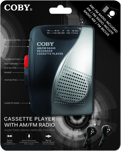 Coby CVR-28-BLK AM/FM Cassette Recorder with Stereo Earbuds, Black