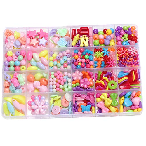 Creative Gifts for Girls Birthday, NeWisdom Pop DIY Beads for Girls Jewelry Making kit Ages 8-12 (DIY 24 Grid Candy)