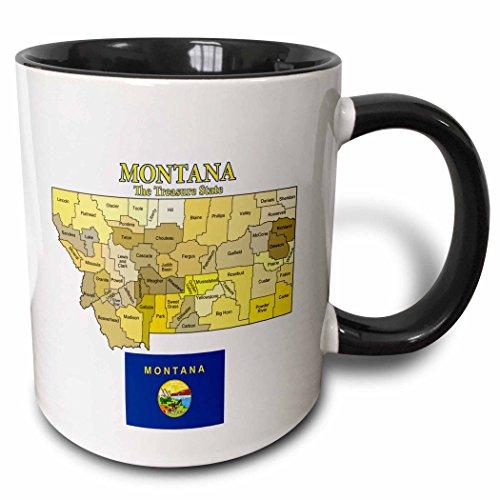 3dRose 200238_4 Map And Flag Of Montana With State Nickname All Counties Labeled Mug, 11 oz, Black