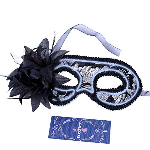 [Cozypony Women's Light Up Venetian Masquerade Mask,Feathered Lace Costume Mask for Halloween,Dance Performance,Party,Mardi Gras or Prom Masks] (Couples Dance Costumes)
