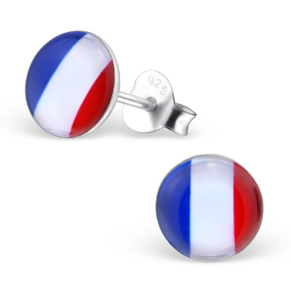 925 Sterling Silver Round France Stud Earrings 26130