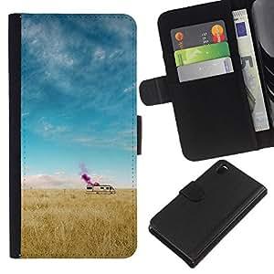 KLONGSHOP // Tirón de la caja Cartera de cuero con ranuras para tarjetas - Cama de última hora - Sony Xperia Z3 D6603 //