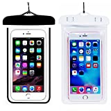 (2Pack) Universal Waterproof Phone Case, CaseHQ IPX 8 Waterproof Phone Pouch Dry Bag Neck Strap for iPhone X/8 Plus/8/7/6S Plus, Samsung Galaxy S9,S8 S8 Plus, Moto up to 6.0' Diagonal -Black+White