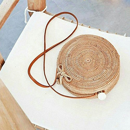 Lovely Straw Shoulder Summer For Purebesi Bag woven Bag Handbags Bag Outdoor Rattan Woven Small Vines body Beach Beach Handbag Cross Crossbody Shoulder Bag Hand Straw xqB8Ew18X