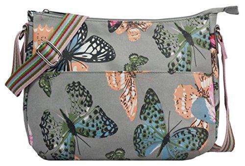 Kukubird varios Caniche mariposa flores estrellas lunares patrón y Rainbow correa sling bandolera Messenger escuela Gym bolsa L Butterfly Grey