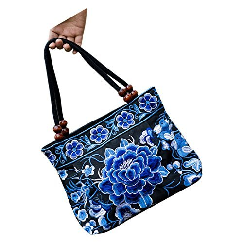 SODIAL Handmade Tote Flowers Bags Embroidery Women Peony£© Ladies £¨Blue Summer R Style Cross Fashion Chinese Shoulder body Ethnic Handbag pxqpRrwf