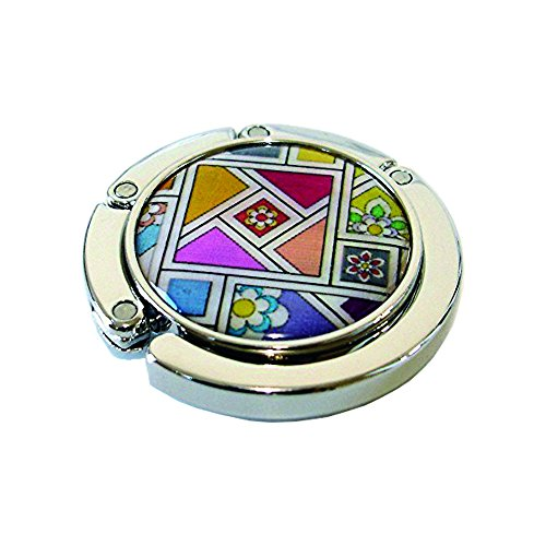 - Nacre Inlay Mother of Pearl Yellow Red Pink Patchwork Design Foldable Table Purse Caddy Portable Handbag Holder Hanger