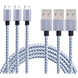Generic 3pcs10ft Nylon Braided High Speed 2.0 USB to Micro USB Charging Cord Fast Charger Cable for Samsung Galaxy S7/S6/S5/Edge,Note 5/4/3,HTC,LG,Nexus and More (3pack 10ft) gray