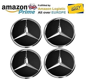 IGGY 4 x Tapones Tapacubos Negro Logo Mercedes de 75 mm - Clase A B C E CLK GL M ML SLK - para Tachuelas Círculos Aleación: Amazon.es: Coche y moto
