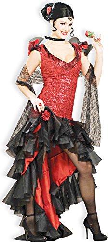 Forum Novelties Women's Designer Collection Spanish Dancer Costume, Red/Black, Medium (Adult Spanish Dancer Costume)