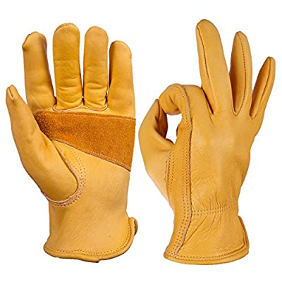 Leather Work Gloves OZERO Grain Cowhide Glove for Motorcycle, Driving, Yard, Gardening - Perfect Fit - Good Grip Palm Padding - Elastic Wrist - M,L,XL - Gold