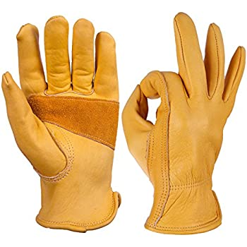 Leather Work Gloves, OZERO Grain Cowhide Glove for Motorcycle, Driving, Yard, Gardening - Perfect Fit - Good Grip Palm Padding - Elastic Wrist - 1 pair (Extra Large)
