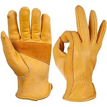 OZERO Leather Work Gloves for Gardening, Men & Women, with Elastic Wrist, Large (1 Pair)