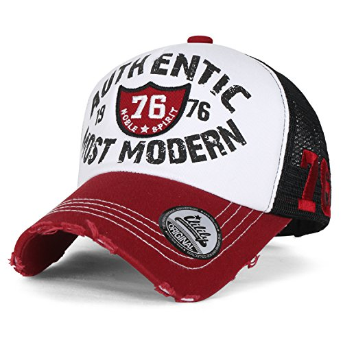 ililily Authentic Most Modern Vintage Distressed Mesh Trucker Hat Baseball Cap, Red Embellishments Road Trip