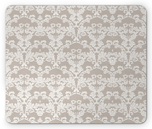 Ambesonne Taupe Mouse Pad, Nature Garden Themed Pattern with Damask Imperial Tile Rococo Inspired Stylized, Standard Size Rectangle Non-Slip Rubber Mousepad, Taupe and White