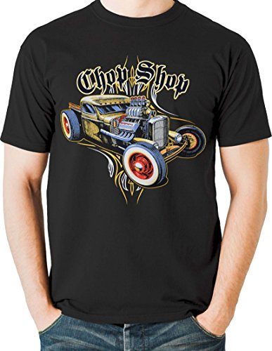 Pinstripe Rod Rat - Hot Rod T Shirt Rat Rod with Pinstripes Whitewall Tires Size Small to 6XL (4X-Large, Black)