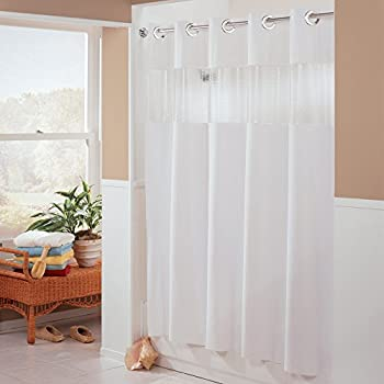 Amazon.com: Vision VINYL Shower Curtain HOOKLESS - WHITE with ...