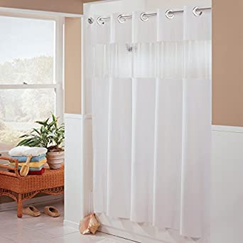 Hampton Inn Hilton Hotels Exclusive Hookless Washable Fabric Shower Curtain  With See Through Panel   Major