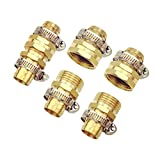 cozyou 5/8'' Garden Hose Repair Mender Male Female Repair Connector with Clamps 3 Sets