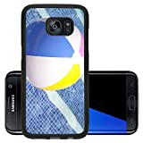 Luxlady Premium Samsung Galaxy S7 Edge Aluminum Backplate Bumper Snap Case IMAGE ID: 23479117 A colorful ball floating in a blue swimming pool