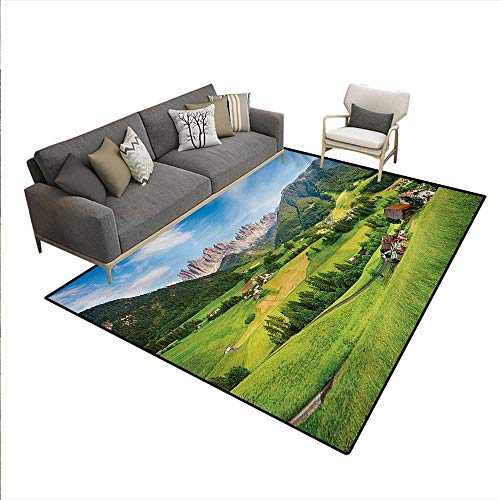- Carpet,Alps in The Spring Season Fresh Grass Sky Majestic Mountains Image Artistic,Indoor Outdoor Rug,Green Blue,6'x7'