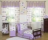 Purple and Brown Modern Polka Dots Toddler Girl Bedding 5 Piece Set