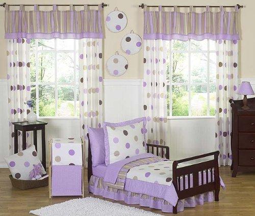 Sweet Jojo Designs 5-Piece Purple and Brown Modern Polka Dots Toddler Girl Bedding Set