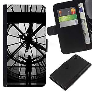 KLONGSHOP // Tirón de la caja Cartera de cuero con ranuras para tarjetas - Arquitectura Big Ben Clok interior - Sony Xperia Z2 D6502 //