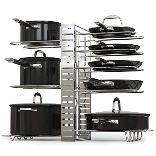 GeekDigg Pot Rack Organizer, Adjustable Height and Position, Kitchen Counter and Cabinet Pan Organizer Shelf Rack/Pot Lid Holder with 3 DIY Methods – Silver