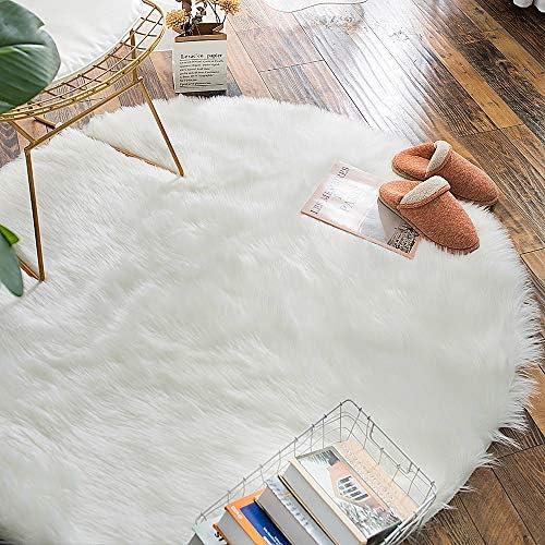 Carvapet Luxury Soft Round Faux Sheepskin Fur Area Rugs Fake Fur Throw Rug Circle Carpet