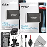 2 Pack Vivitar LP-E10 Battery and Charger Kit for Canon EOS Rebel T6, T5, T3, 1300D, 1200D, 1100D, Kiss X70, Kiss X50 (100% Compatible, Fully Decoded 1100mAh Rechargeable Lithium-Ion Batteries)