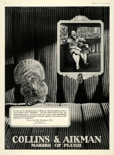 Plush Upholstery (1925 Ad Collins Aikman Plush Car Upholstery Fabric Son - Original Print)
