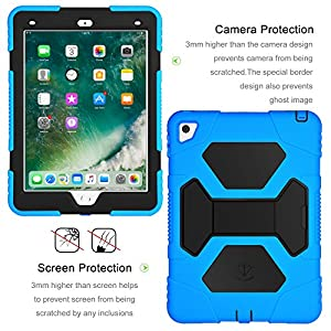 iPad mini 4 Case, Aceguarder New Design iPad Mini 4 Case for Kids Dustproof Shockproof Super Protection Cover Case with Stand for iPad mini 4 (Blue Black)
