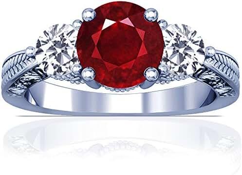Platinum Round Cut Ruby Three Stone Ring (GIA Certificate)
