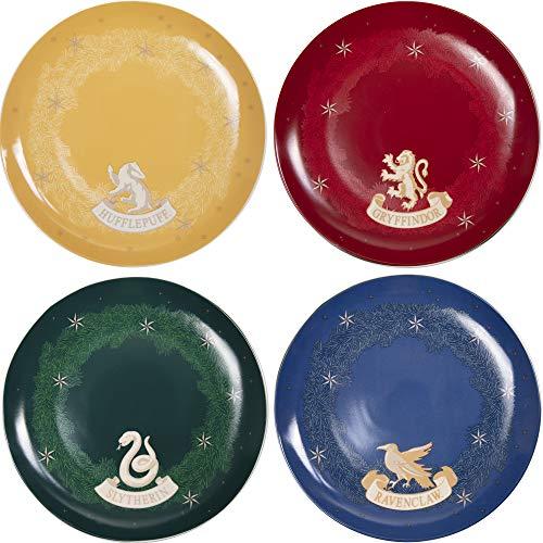 Harry Potter Hogwarts Houses Dinner Plates, Set of 4 - Gryffindor, Ravenclaw, Hufflepuff and Slytherin - Porcelain - 10.5