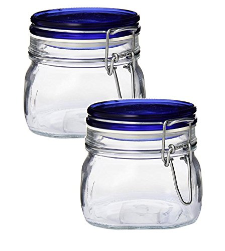 Bormioli Rocco Fido Square Glass Canning Jar with Blue Lid, 0.5 Liter (Pack of ()