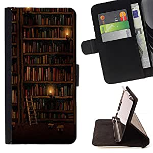 DEVIL CASE - FOR Apple Iphone 6 PLUS 5.5 - Bookshelf Library Wall Ladder Art Design - Style PU Leather Case Wallet Flip Stand Flap Closure Cover