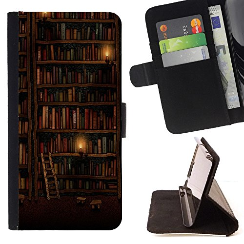 All Phone Most Case / Special Offer Smart Phone Leather Wallet Case Protective Case Cover for LENOVO MOTO G4 / MOTO G4 PLUS // Bookshelf Library Wall Ladder Art Design (Luxury Box Ladder)