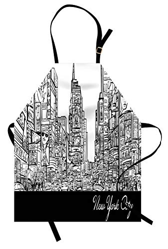 Lunarable New York Apron, Times Square with Traffic Jam and Sketch Adverts Hand Drawn Urban City, Unisex Kitchen Bib with Adjustable Neck for Cooking Gardening, Adult Size, Charcoal Grey White