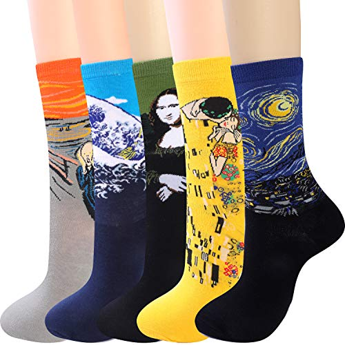 Art Crew Socks for Womens Funny Fun Novelty Crazy Cool Funky Gifts (D 5pairs)