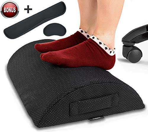 - Foot Rest Cushion for Under Desk - Bonus Keyboard and Mouse Cushions - Durable Footrest for Home and Office Your Feet Will Love (Black)