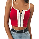 Wugeshangmao Tank Tops for Women Fashion, Girls Summer Sexy Strappy Sleeveless Patchwork Zipper Vest Blouses Tee Shirt Red