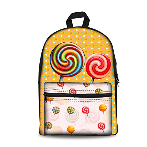 HUGS IDEA Lollipop Cute Girls School Backpack Lightweight Canvas Rucksack Children School Shoulder Bag Laptap Daypack ()