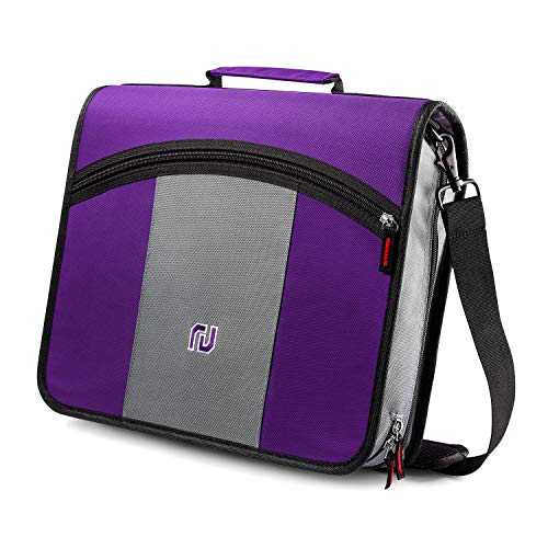 (Nekmit 3-Inch Zipper Binder, 3 Rings Binder with Expanding File and Shoulder Strap, Purple )