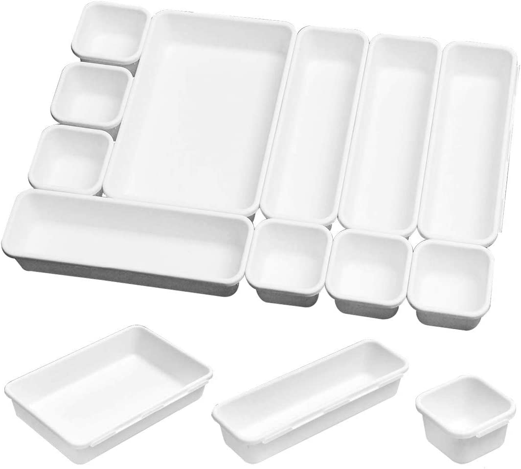 16 Pack Interlocking Drawer Organizer Tray,Multi-purpose Desk Tray Organizer Drawer for Kitchen Bathroom Office Bedroom, Assorted Sizes of Office Drawer Organizer (White)