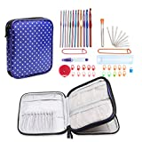 Teamoy Aluminum Crochet Hooks Set, Knitting Needle Kit, Organizer Carrying Case with 12pcs 2mm to 8mm Hooks and Complete Accessories, All in One Place and Easy to Carry, Purple Dots